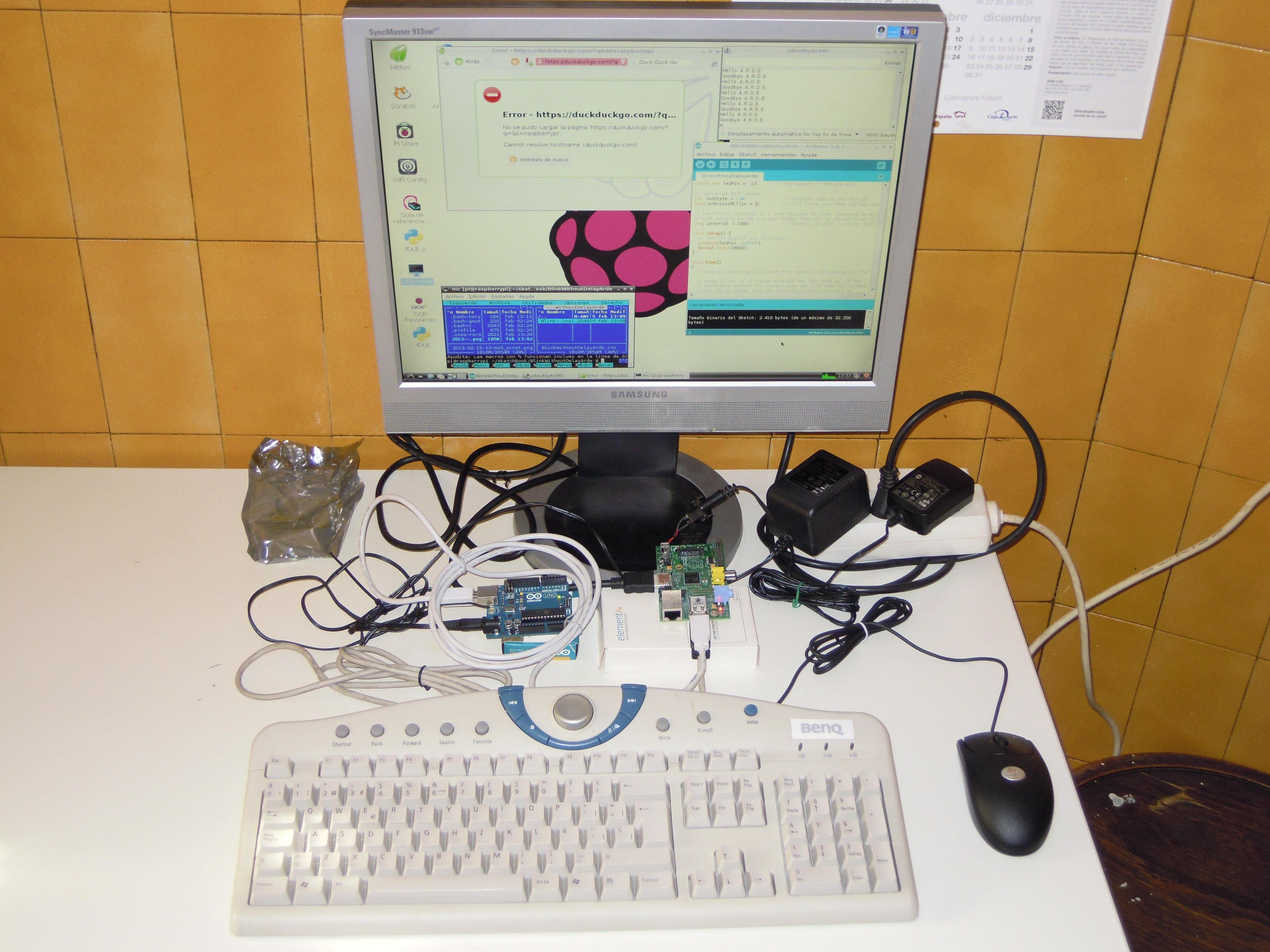 Estación de trabajo para arduino raspberry con raspberri pi